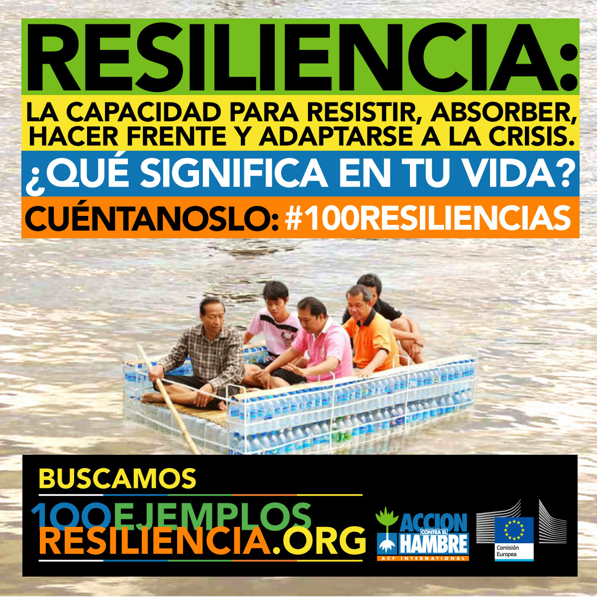 Gráfica 3 para redes sociales de la campaña 100 ejemplos de resiliencia de Acción Contra el Hambre