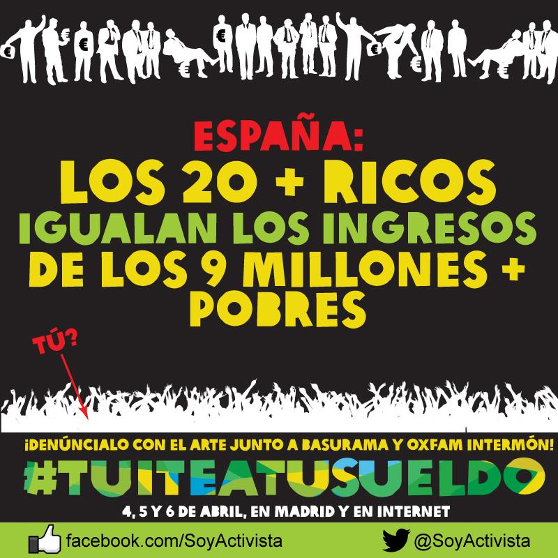 """Gráfica para redes sociales de la campaña """"Tuitea tu Sueldo"""" de Implícate para Oxfam Intermón"""