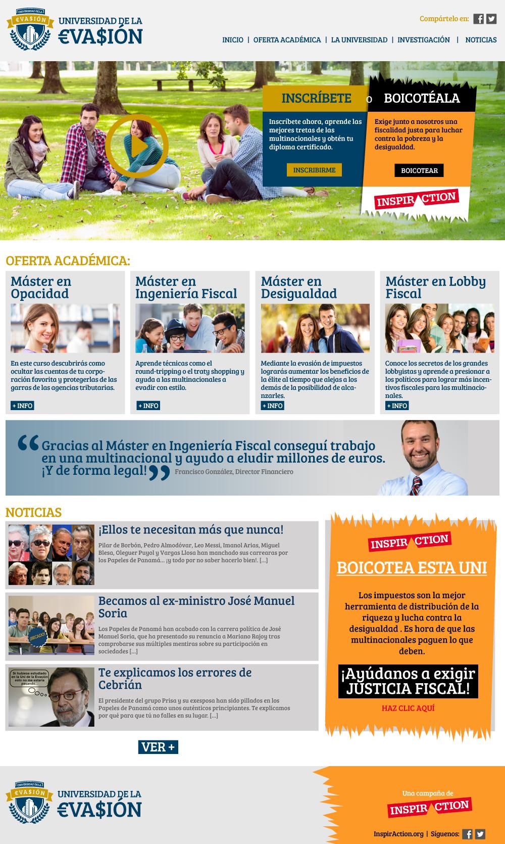 """Sitio web de la """"Universidad de la Evasión"""", una campaña para la ONG InspirAction"""