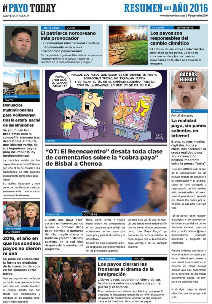 Periódico Payo Today 2016, una campaña social para la Fundación Secretariado Gitano