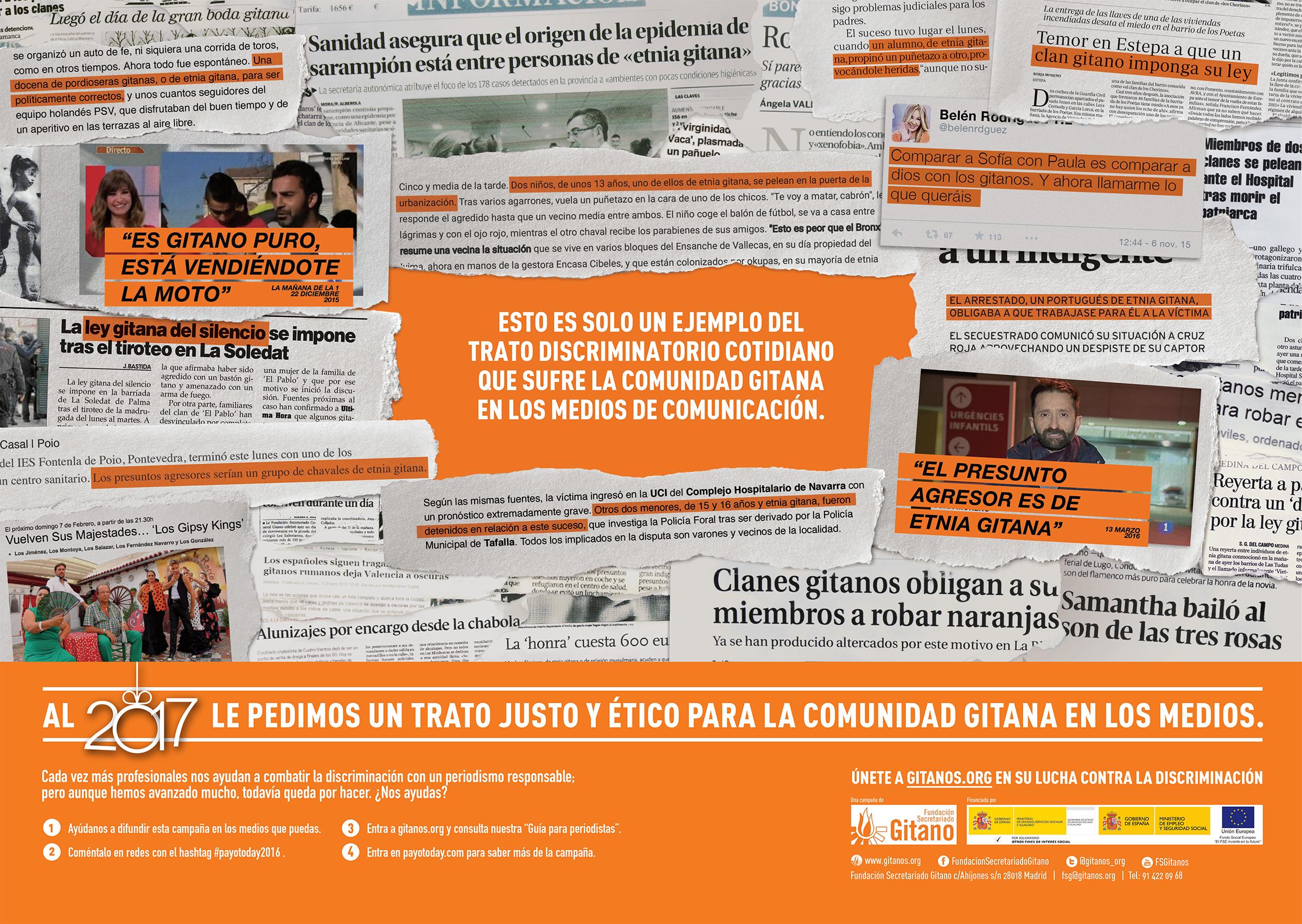 Interior del periódico Payo Today 2016, una campaña social para la Fundación Secretariado Gitano