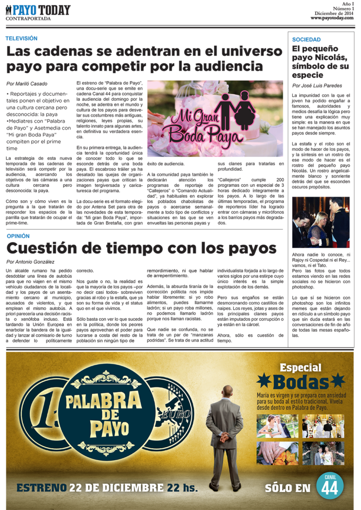 Periódico Payo Today, una campaña social para Fundación Secretariado Gitano
