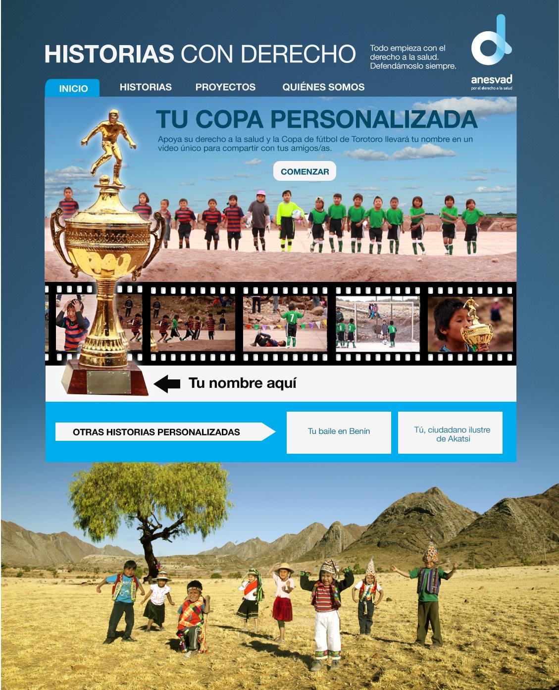 """Sitio web de la campaña """"Derecho a Curar"""" para la ONG Anesvad"""