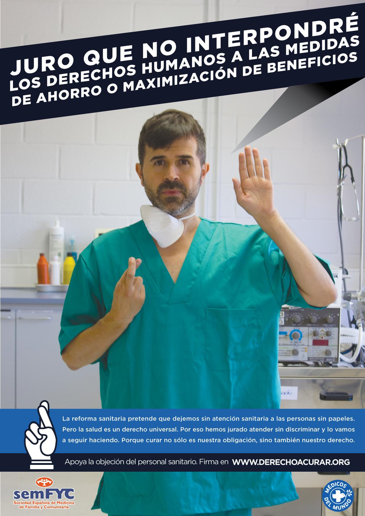 Gráfica de la campaña Derecho a curar de Implícate para Médicos del Mundo